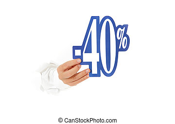 Forty percent discount sign, hand - Hand of man breaking...