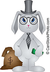 Rabbit banker - Banker rabbit rich with a bag filled with...