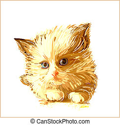 hand drawn portrait of the ginger kitten with blue eyes