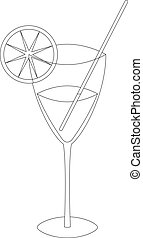 Glass with drink, contours - Glass with a lemon, straw and a...