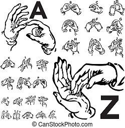 vector, Conjunto, Cartas, idioma, señal
