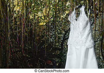 Wedding Gown - White wedding gown against well of natural,...