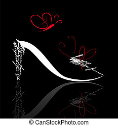shoe silhouette with butterfly - Stylized shoe silhouette...