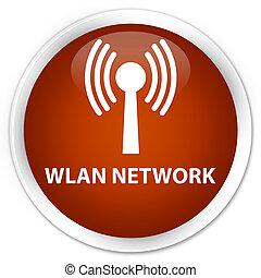 Wlan network premium brown round button - Wlan network...
