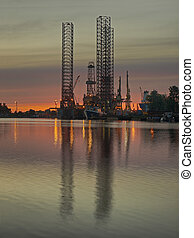 Oil Platform - Drilling rig in repair in shipyard Gdansk.