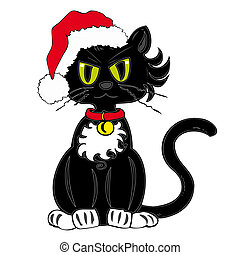 Black Cat with Santa Claus Hat.