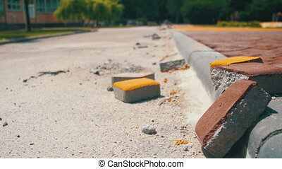 Construction Site, Colored Road Paving Stone in a City Park,...
