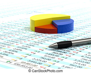 Spreadsheet and pen - Spreadsheet with pen, blue yellow and...