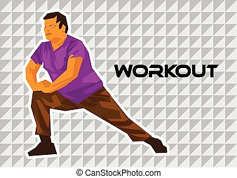 Overweight man exercising Tile Collash Vector illustration