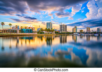 St. Petersburg, Florida, USA downtown city skyline on the...