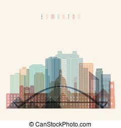 Edmonton skyline detailed silhouette. Transparent style....