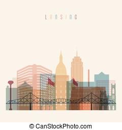 Lansing state Michigan skyline detailed silhouette - Lansing...