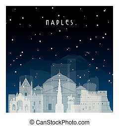 Winter night in Naples. Night city in flat style.