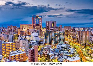 Kanazawa, Japan Skyline - Kanazawa, Japan skyline at dusk.