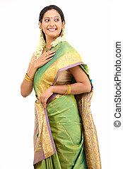 woman in silk sari