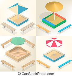 Sandbox with benches in isometric, vector illustration. -...