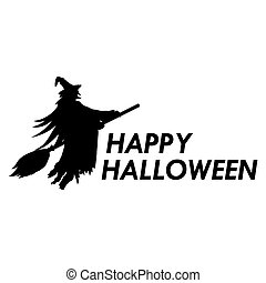 Silhouette of witch on a broomstick on Halloween -...
