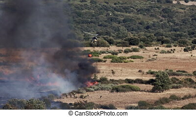 Helicopter throwing water to fire in the wild near...