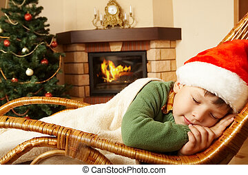 Sweet dream - Photo of cute infant wearing santa cap...