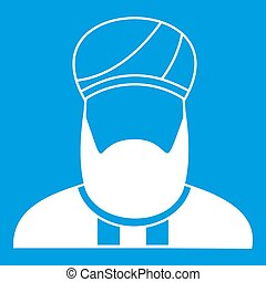 Muslim preacher icon white isolated on blue background...