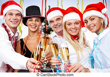 Festivity - Portrait of smart colleagues with flutes of...
