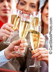 Cheers - Image of businesspeople hands with crystal glasses...