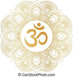 Golden Aum Om Ohm symbol in decorative round mandala...