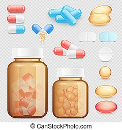 Vector realistic drugs and pills icon set - Vector drugs and...