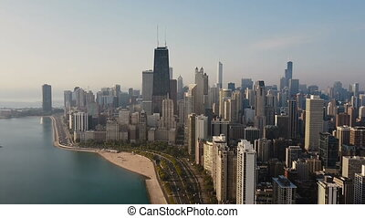Aerial view of the Chicago, America. Busy downtown, city...