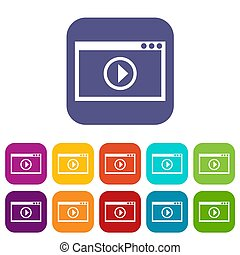 Program for video playback icons set illustration in flat...