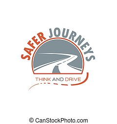 Winding road or highway isolated icon design - Winding road...