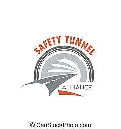 Road tunnel icon for safety traffic emblem design - Road...