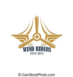 Aviation retro badge with airplane propeller