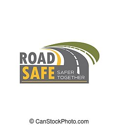 Road safety icon design with highway turn - Road safety icon...