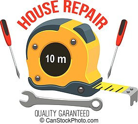 House repair icon with work tool and tape measure