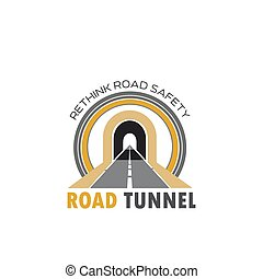 Road tunnel isolated icon with highway or freeway - Road...