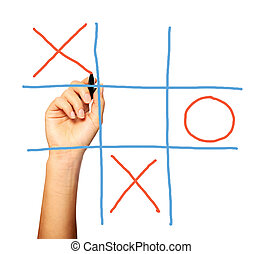 Noughts and crosses - A close up of a female hand playing...