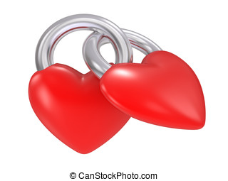 heart lock isolated on a white background