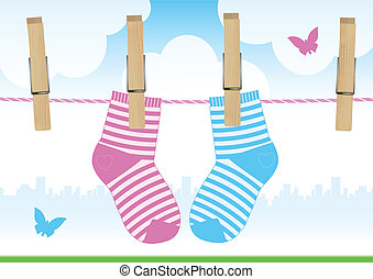Illustration of babysocks - Vector illustration of a...
