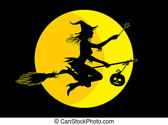 Halloween witch - silhouette witch on full moon