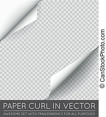 Vector Paper Page Curl with Shadow Isolated.