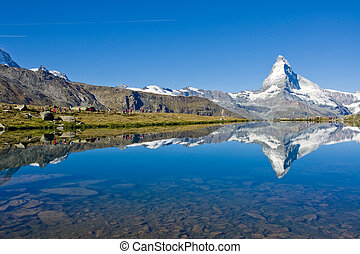 Mass tourism at the Matterhorn in the swiss alps