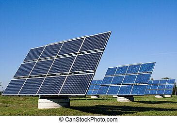 Solar energy plants in a row