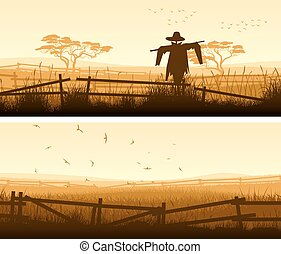 Horizontal banner of farm fields with fence. - Set of...
