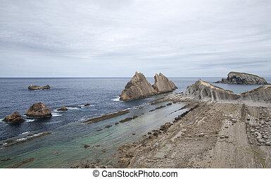 Cantabria, Costa Quebrada, rock formations around beach...