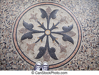mosaic directly underfoot - geraldic mosaic rosette directly...