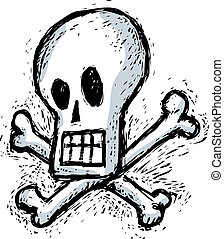 Humorous skull - Skull with bones in engraving style.