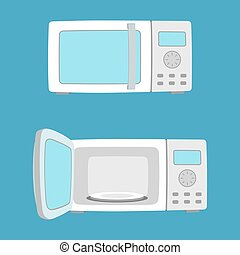 Microwave oven illustration. - Microwave oven with open and...