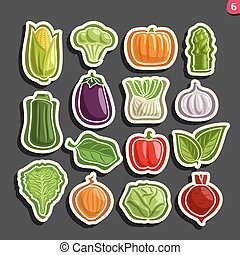 Vector Set icons of fresh Vegetables: 15 minimal labels for...