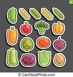 Vector Set icons of fresh Vegetables: 16 minimal labels for...